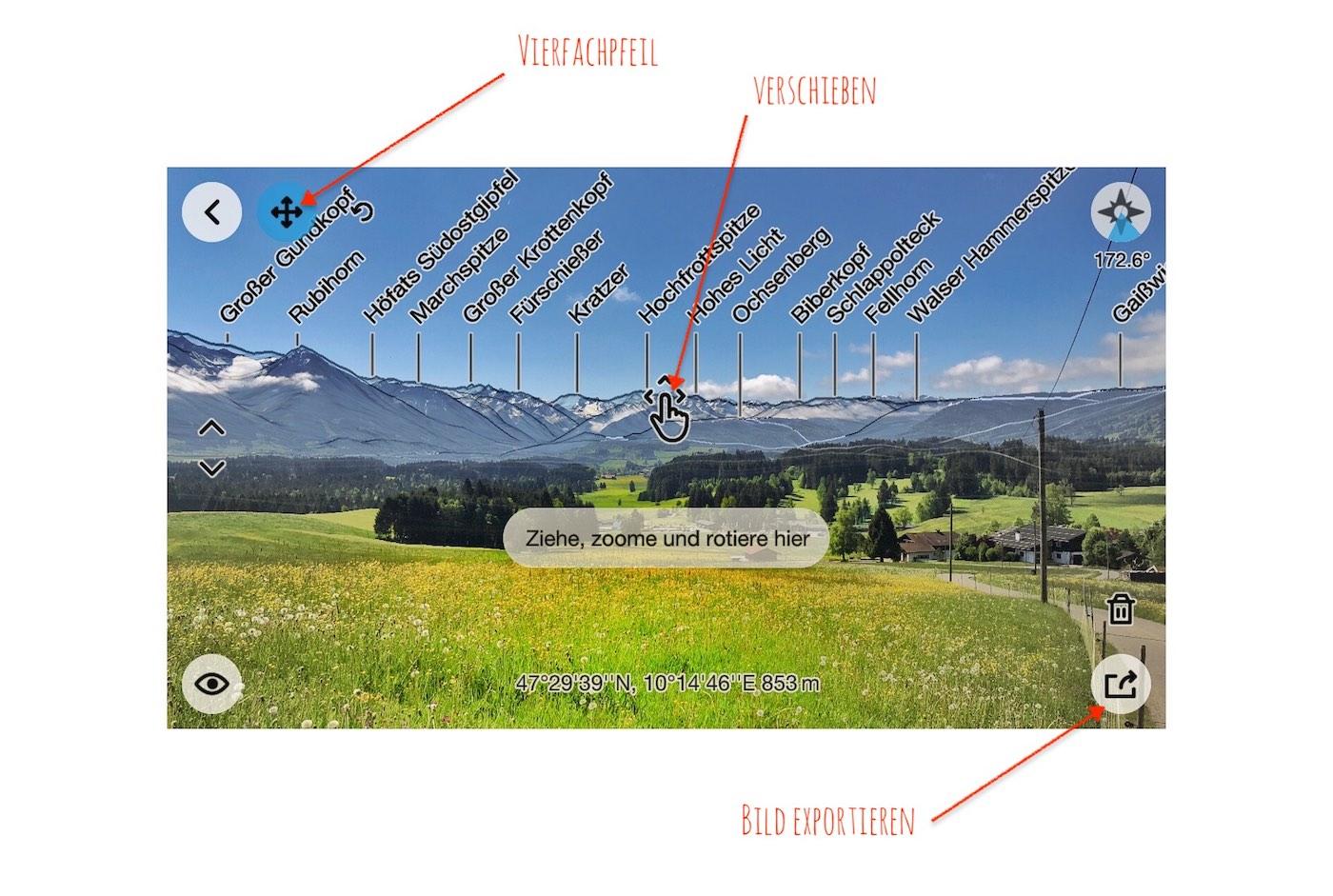 Bilder in der PeakFinder App bearbeiten